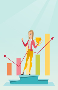 Young caucasian businesswoman with business award standing on pedestal. Cheerful businesswoman celebrating her business award. Business award concept. Vector flat design illustration. Vertical layout.