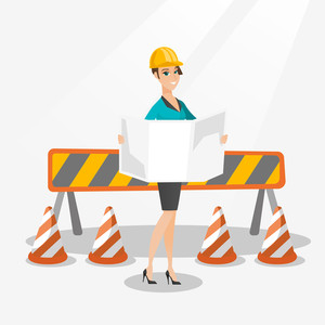 Young caucasian engineer watching a blueprint at construction site. Female engineer with engineer blueprint standing on the background of road barriers. Vector flat design illustration. Square layout.
