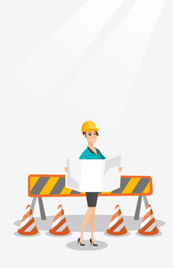 Young caucasian engineer watching blueprint at construction site. Female engineer with engineer blueprint standing on the background of road barriers. Vector flat design illustration. Vertical layout.