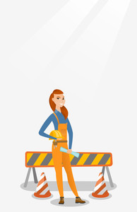 Young caucasian engineer with a blueprint at construction site. Engineer holding hard hat and twisted blueprint. Engineer checking construction works. Vector flat design illustration. Vertical layout.