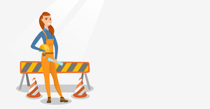 Young caucasian engineer with blueprint at construction site. Engineer holding hard hat and twisted blueprint. Engineer checking construction works. Vector flat design illustration. Horizontal layout.
