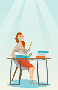 Young caucasian female student sitting at the table and thinking. Thinking student writing in exercise book. Thinking female student doing homework. Vector flat design illustration. Vertical layout.