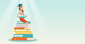 Young caucasian female student sitting on huge pile of books. Happy student reading book. Smiling woman sitting on stack of books with book in hands. Vector flat design illustration. Horizontal layout