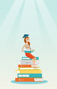 Young caucasian female student sitting on huge pile of books. Happy student reading book. Smiling woman sitting on stack of books with book in hands. Vector flat design illustration. Vertical layout.