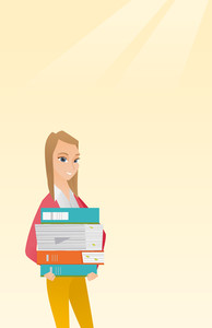 Young caucasian female woman holding a pile of educational books in hands. Student carrying huge stack of books. Student preparing for exam with books. Vector flat design illustration. Vertical layout