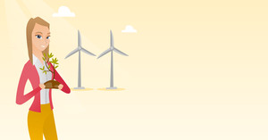 Young caucasian female worker of wind farm. Girl holding in hands green small plant in soil on the background of wind turbines. Green energy concept. Vector flat design illustration. Horizontal layout