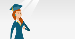 Young caucasian graduate giving thumb up. Full length of smiling graduate with thumb up. Cheerful graduate showing thumb up. Concept of education. Vector flat design illustration. Horizontal layout.