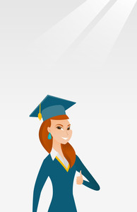 Young caucasian graduate giving thumb up. Full length of smiling graduate with thumb up. Cheerful graduate showing thumb up. Concept of education. Vector flat design illustration. Vertical layout.