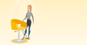 Young caucasian hairdresser standing near armchair. Full length of professional hairdresser standing at workplace. Friendly hairdresser at work. Vector flat design illustration. Horizontal layout.