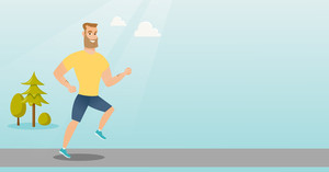 Young caucasian hipster man with beard running. Happy sportsman running outdoors. Smiling sportsman running in the park. Running man on forest road. Vector flat design illustration. Horizontal layout.