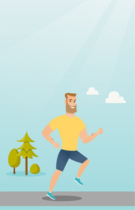 Young caucasian hipster man with beard running. Happy sportsman running outdoors. Smiling sportsman running in the park. Running man on forest road. Vector flat design illustration. Vertical layout.
