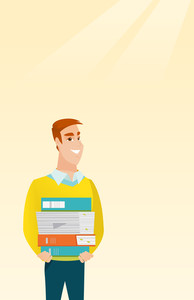 Young caucasian man holding a pile of educational books in hands. Smiling student carrying huge stack of books. Student preparing for exam with books. Vector flat design illustration. Vertical layout.