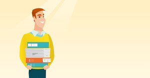 Young caucasian man holding pile of educational books in hands. Smiling student carrying huge stack of books. Student preparing for exam with books. Vector flat design illustration. Horizontal layout.
