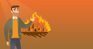Young caucasian man pointing at forest in fire. Frustrated man standing on the background of a big forest fire. Concept of environmental destruction. Vector flat design illustration. Horizontal layout