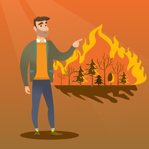 Young caucasian man pointing at forest in fire. Frustrated man standing on the background of a big forest fire. Concept of environmental destruction. Vector flat design illustration. Square layout.