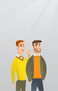 Young caucasian man shielding his mouth and whispering a gossip to his friend. Two happy men sharing gossips. Smiling friends discussing gossips. Vector flat design illustration. Vertical layout.