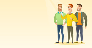 Young caucasian man showing something to his friends on his smartphone. Three male friends looking at smartphone and laughing. Man using smartphone. Vector flat design illustration. Horizontal layout.