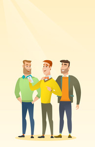 Young caucasian man showing something to his friends on his smartphone. Three male friends looking at smartphone and laughing. Man using smartphone. Vector flat design illustration. Vertical layout.