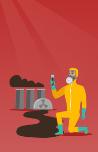 Young caucasian scientist in gas mask and radiation protective suit holding a test-tube with black liquid on the background of nuclear power plant. Vector flat design illustration. Vertical layout.
