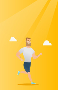 Young caucasian sportsman running. Hipster sportsman with beard jogging. Full length of smiling sportsman running. Sportsman in sportswear running. Vector flat design illustration. Vertical layout.