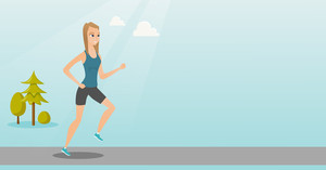 Young caucasian sportswoman running. Cheerful sportswoman running outdoors. Smiling sportswoman running in the park. Running woman on forest road. Vector flat design illustration. Horizontal layout.