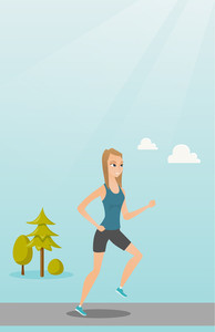 Young caucasian sportswoman running. Cheerful sportswoman running outdoors. Smiling sportswoman running in the park. Running woman on forest road. Vector flat design illustration. Vertical layout.