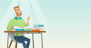 Young caucasian student sitting at the table and thinking. Thinking student writing in exercise book. Thinking smiling student doing homework. Vector flat design illustration. Horizontal layout.