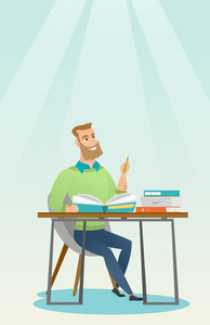 Young caucasian student sitting at the table and thinking. Thinking student writing in exercise book. Thinking smiling student doing homework. Vector flat design illustration. Vertical layout.