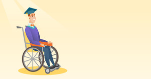 Young caucasian student sitting in wheelchair. Cheerful graduate sitting in wheelchair. Disabled graduate in graduation cap sitting in wheelchair. Vector flat design illustration. Horizontal layout.