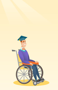 Young caucasian student sitting in wheelchair. Smiling graduate sitting in wheelchair. Happy disabled graduate in graduation cap sitting in wheelchair. Vector flat design illustration. Vertical layout