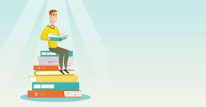 Young caucasian student sitting on huge pile of books. Happy student in suit reading book. Smiling man sitting on stack of books with book in hands. Vector flat design illustration. Horizontal layout.
