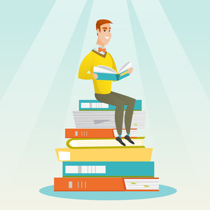 Young caucasian student sitting on huge pile of books. Happy student in suit reading book. Smiling man sitting on stack of books with book in hands. Vector flat design illustration. Square layout.