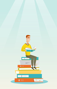 Young caucasian student sitting on huge pile of books. Happy student in suit reading book. Smiling man sitting on stack of books with book in hands. Vector flat design illustration. Vertical layout.