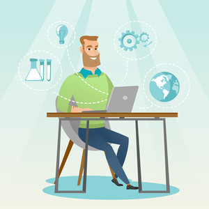 Young caucasian student using laptop for education. Hipster student sitting at the table and working on a laptop. Concept of educational technology. Vector flat design illustration. Square layout
