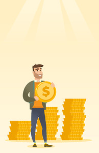 Young caucasian successful business man with dollar golden coin in hands. Successful business man holding golden coin. Concept of success in business. Vector flat design illustration. Vertical layout.