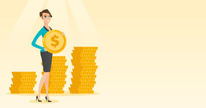 Young caucasian successful business woman with dollar golden coin in hands. Successful business woman holding golden coin. Business success concept. Vector flat design illustration. Horizontal layout.