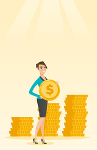 Young caucasian successful business woman with dollar golden coin in hands. Successful business woman holding golden coin. Business success concept. Vector flat design illustration. Vertical layout.