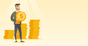 Young caucasian successful businessman with dollar golden coin in hands. Successful business man holding golden coin. Concept of success in business. Vector flat design illustration. Horizontal layout