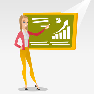 Young caucasian teacher standing in classroom. Teacher standing in front of the blackboard with a piece of chalk in hand. Teacher writing on chalkboard. Vector flat design illustration. Square layout.