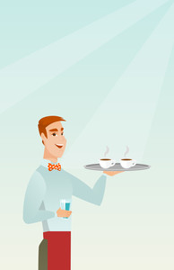 Young caucasian waiter holding a tray with two cups of tea or coffee and a glass of water. Friendly waiter standing with a tray with cups of coffee. Vector flat design illustration. Vertical layout.