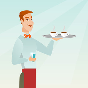 Young caucasian waiter holding a tray with two cups of tea or coffee and a glass of water. Friendly waiter standing with a tray with cups of hot coffee. Vector flat design illustration. Square layout.