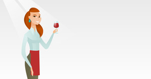 Young caucasian waitress holding a glass of red wine in hand. Waitress looking at a glass of red wine. Smiling waitress examining wine in a glass. Vector flat design illustration. Horizontal layout.