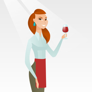 Young caucasian waitress holding a glass of red wine in hand. Waitress looking at a glass of red wine. Smiling waitress examining wine in a glass. Vector flat design illustration. Square layout.