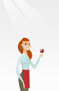 Young caucasian waitress holding a glass of red wine in hand. Waitress looking at a glass of red wine. Smiling waitress examining wine in a glass. Vector flat design illustration. Vertical layout.