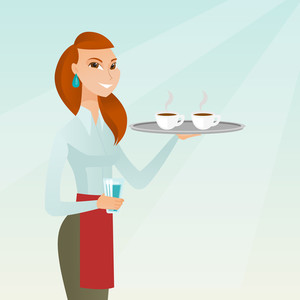 Young caucasian waitress holding a tray with two cups of tea or coffee and a glass of water. Waitress standing with a tray with cups of hot coffee. Vector flat design illustration. Square layout.