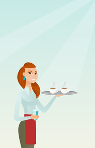 Young caucasian waitress holding a tray with two cups of tea or coffee and a glass of water. Waitress standing with a tray with cups of hot coffee. Vector flat design illustration. Vertical layout.
