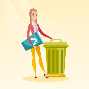 Young caucasian woman carrying recycling bin. Smiling woman holding recycling bin while standing near a trash can. Concept of waste recycling. Vector flat design illustration. Square layout.