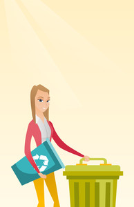 Young caucasian woman carrying recycling bin. Smiling woman holding recycling bin while standing near a trash can. Concept of waste recycling. Vector flat design illustration. Vertical layout.