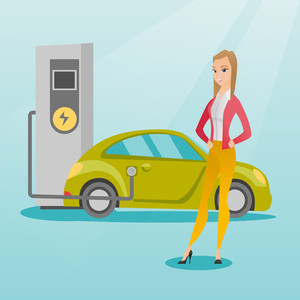 Young caucasian woman charging electric car at charging station. Woman standing near power supply for electric car charging. Charging of electric car. Vector flat design illustration. Square layout.