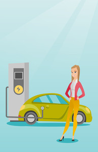 Young caucasian woman charging electric car at charging station. Woman standing near power supply for electric car charging. Charging of electric car. Vector flat design illustration. Vertical layout.
